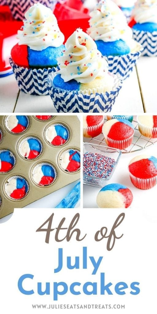 Image for pinterest. Collage of three photos showing red white and blue cupcakes and text on the bottom stating 4th of July Cupcakes