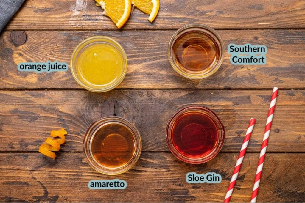 Ingredients for Alabama Slammer including orange juice amaretto slow gin and southern comfort