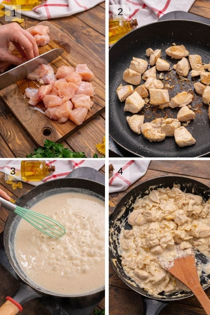 Collage of four images showing cutting and browning chicken breast making alfredo sauce and combining sauce and chicken