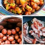 Pin Image with top image of German potato salad in blue bowl, another image of red potatoes in stock pot and another with bacon in skillet frying. The bottom has a text overlay of recipe title.