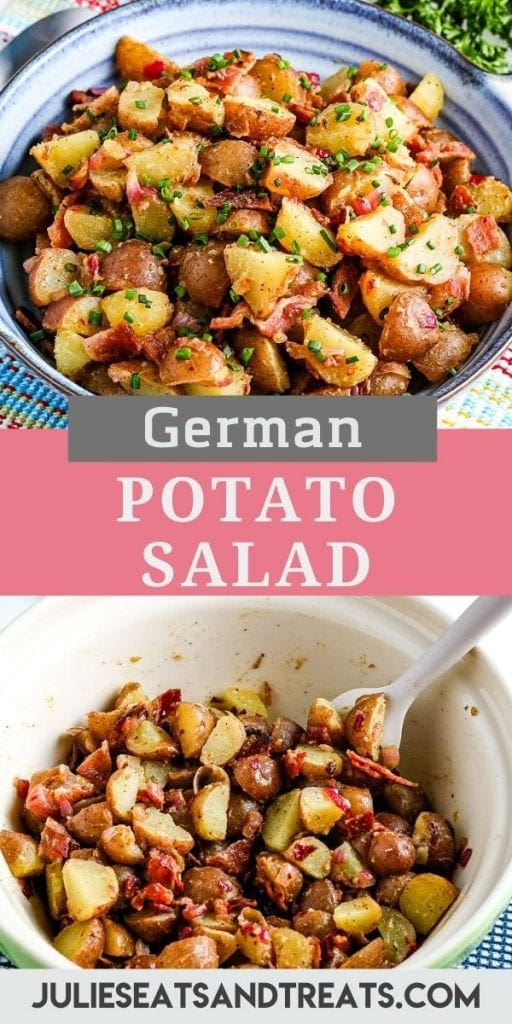 Pin Collage with a blue plate of German Potato Salad on top, text overlay of recipe name in the middle and the bottom showing salad in a white mixing bowl with spoon