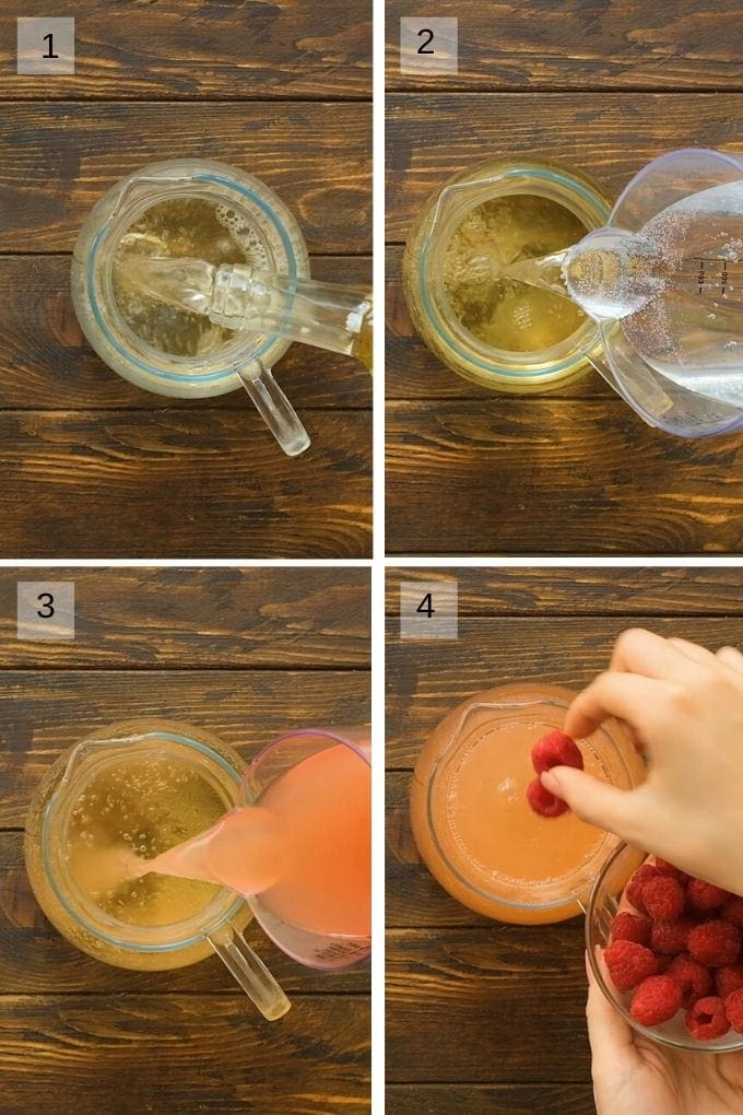 Collage of four images showing pouring moscato, pink lemonade and lemon-lime soda into pitcher then adding rasperries.