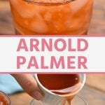 Pin Collage for Arnold Palmer. Top image of arnold palmer drink in a glass with a straw, bottom image of ingredients being poured into a glass of ice