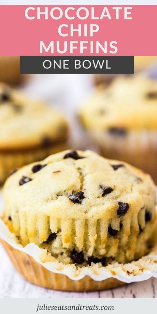 Pin Image for Chocolate Chip Muffins. A partially unwrapped chocolate chip muffin on a table