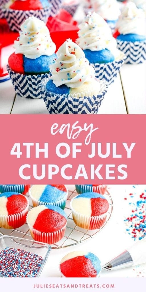Image for Pinterest. Top has image of finished 4th of July cupcakes middle is text layer with name of recipe and bottom is red white and blue cupcakes without frosting