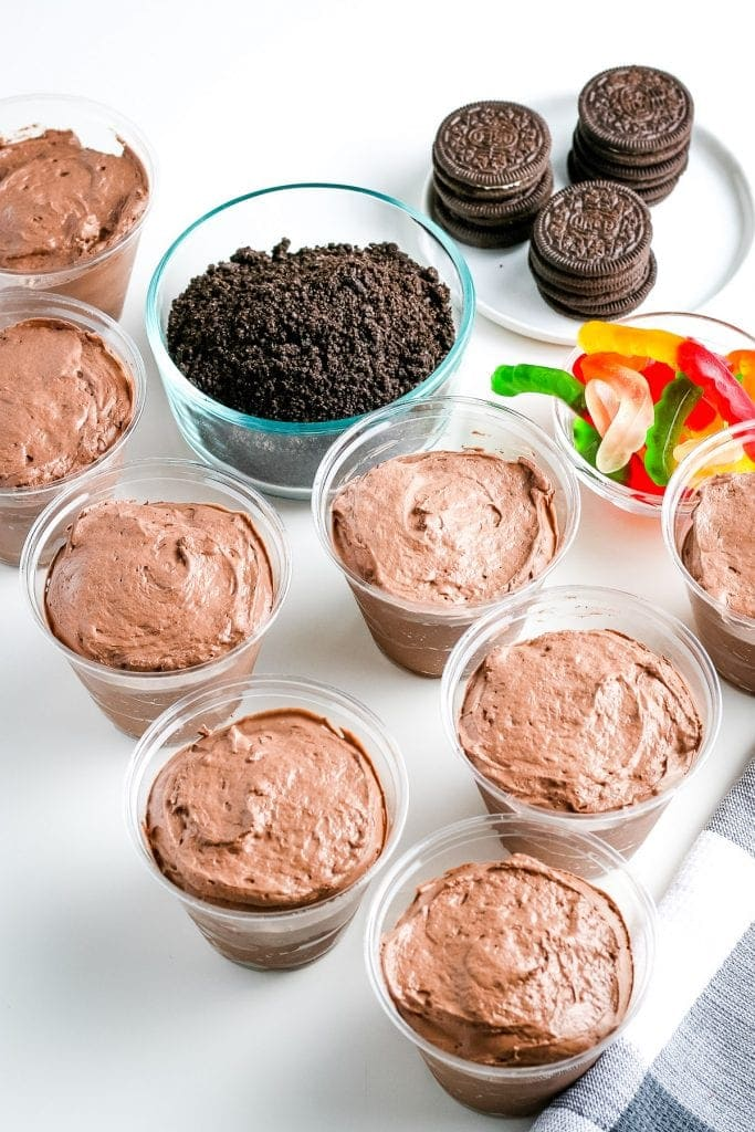 Cups of chocolate pudding cups