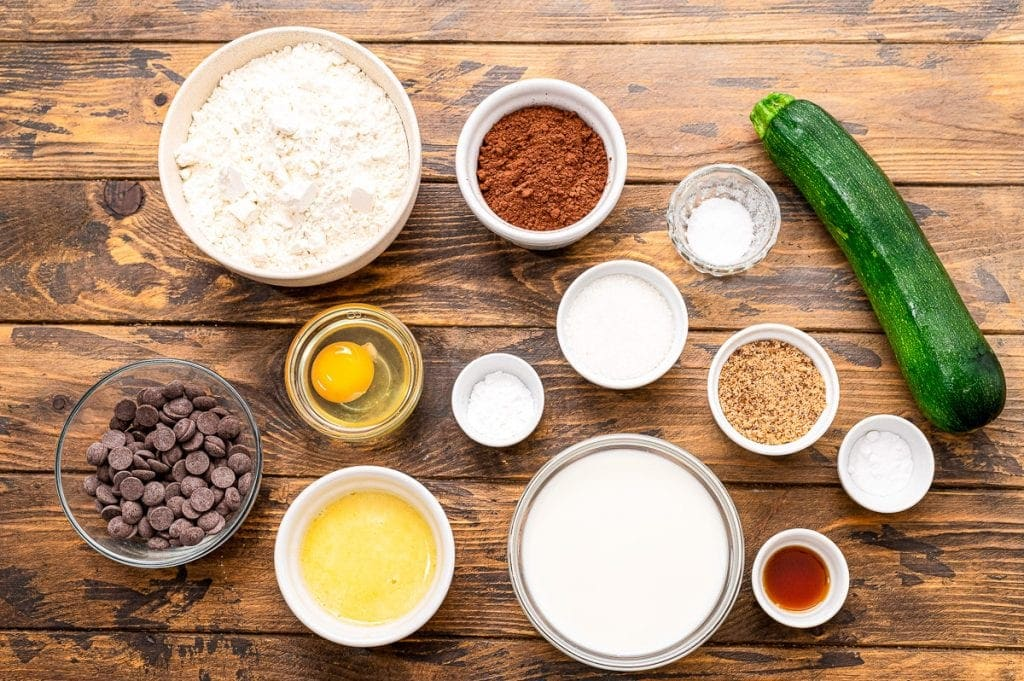 Overhead image of ingredients for chocolate zucchini muffins.
