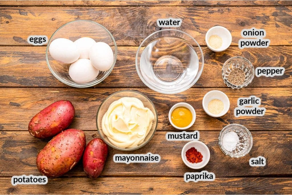 Overhead image of ingredients to make Instant Pot Potato Salad