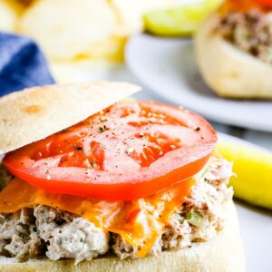 A sandwich topped with tuna filling, cheese slice and tomato slice