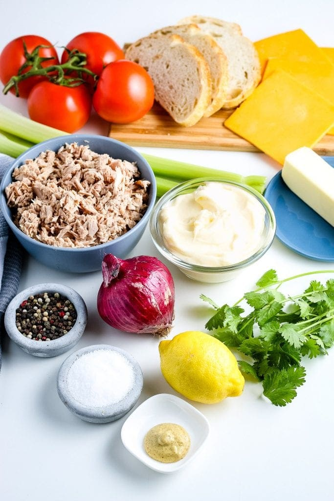 Ingredients on white background to make tuna Melts