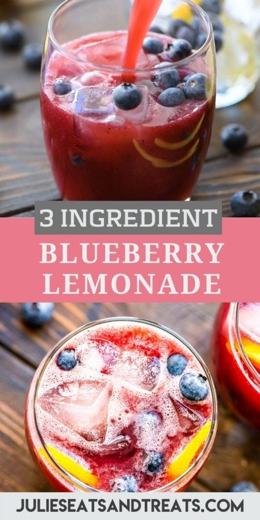 Pinterest Image with a top photo of blueberry lemonade being poured into glass, text overlay of recipe name in middle and bottom photo of an overhead image of glass of lemonade.