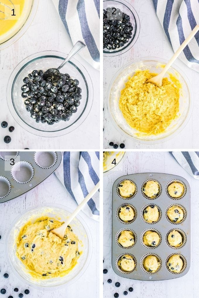Collage of four images showing blueberries tossed in flour batter for muffins mixed then blueberries added to it and then in muffin pan