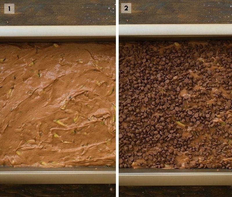 Collage of two photos showing cake batter in pan and then a second photo next to it showing it sprinkled with chocolate chips.