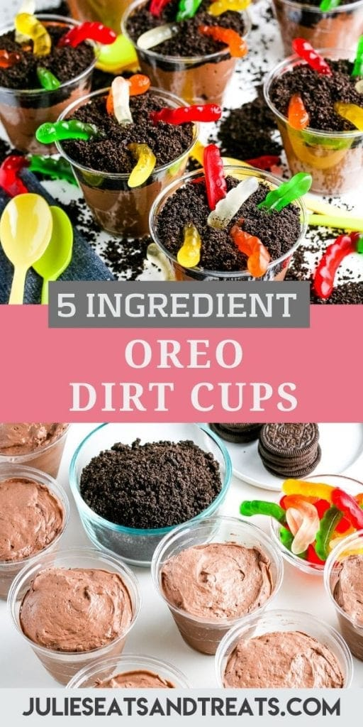 Pinterest Image with a picture on top of dirt cups, text overlay of recipe name in the middle and the bottom showing chocolate pudding in cups.