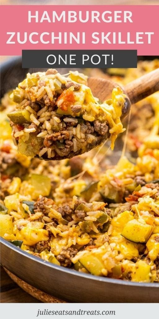 Pinterest Image for Ground Beef and Zucchini Skillet with text overlay of recipe name on top and a photo of wooden spoon scooping it out of a pan below that.