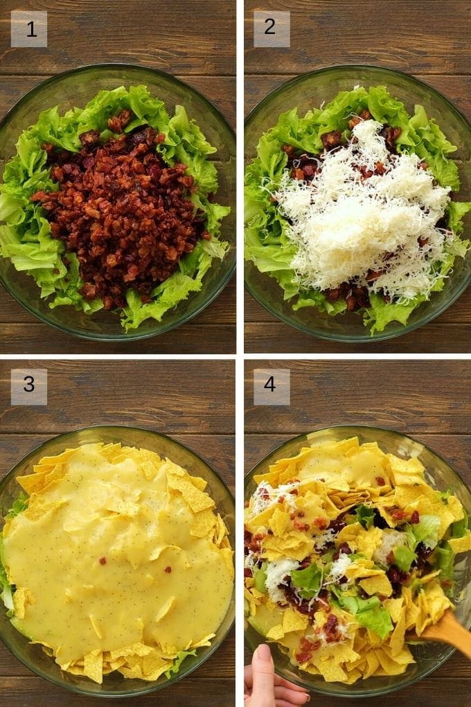 Four Image collage showing steps to mix up Lettuce Frito Salad.