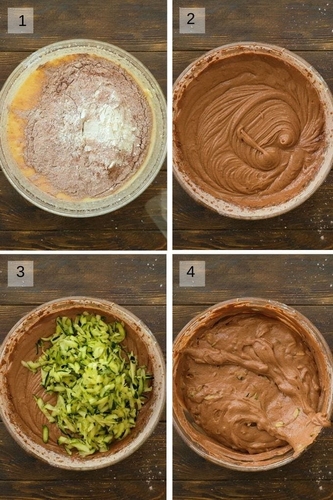 Collage of four images showing a bowl adding wet and dry ingredients together and then mixing. Another image showing shredded added to batter then a finally image of it mixed into the batter.