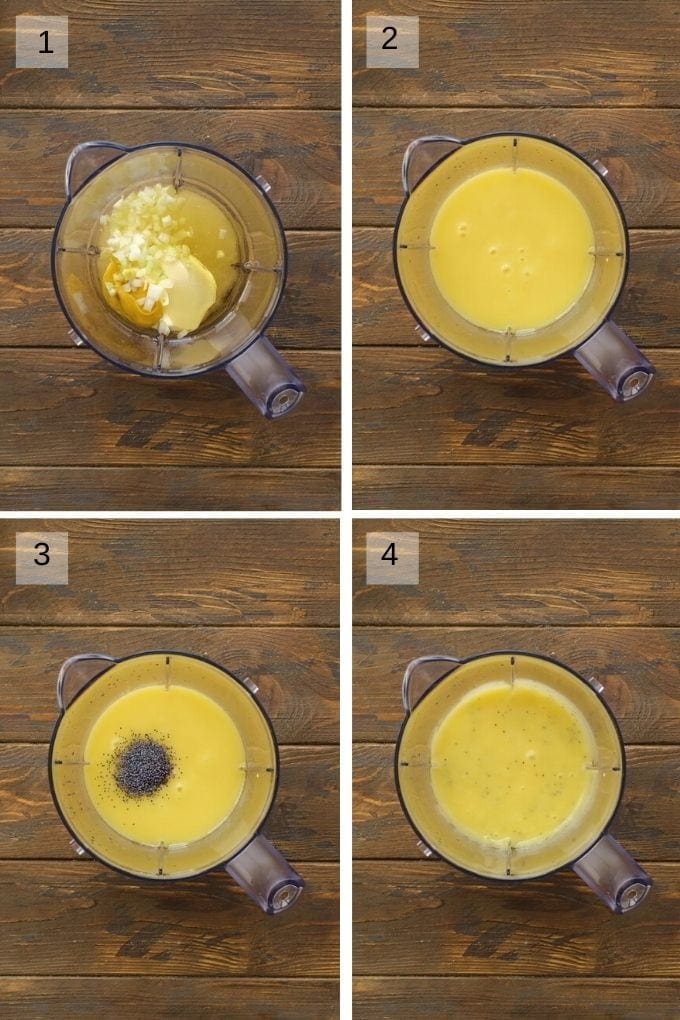Four image collage showing how to blend poppy seed dressing.