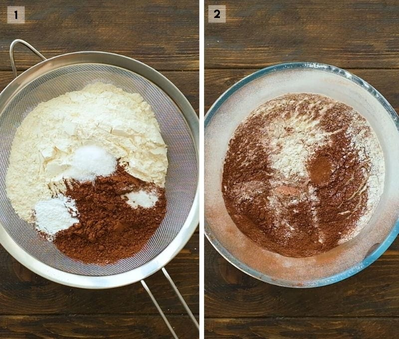 Two image collage showing dry ingredients in sifter and then glass bowl with ingredients sifted into it.