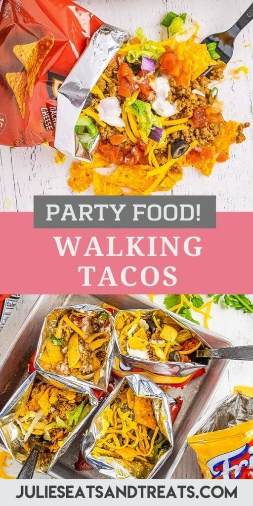 Pinterest Image for Walking Tacos with photo of walking taco spilled on white background on top, text overlay of recipe name in middle and bottom image of four walking tacos in a group.
