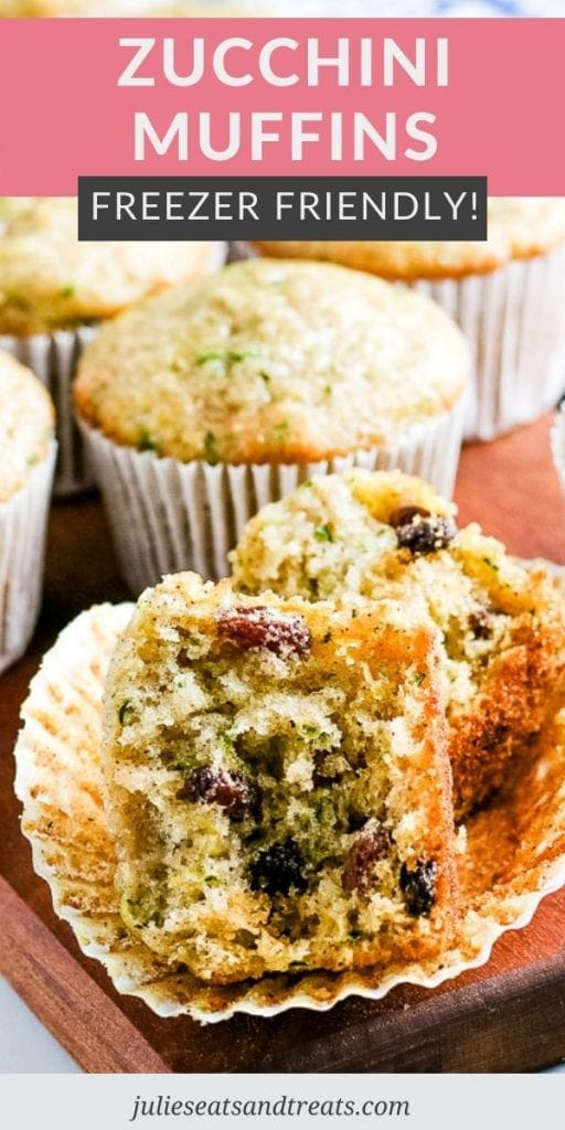 Pinterest Image with Text overlay of Zucchini Muffins on top and a photo of a cut open muffin on bottom laying on a muffin liner.