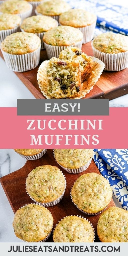 Pin Image for Zucchini Muffins with top photo of muffin cut open on liner, middle text layer of recipe name and bottom overhead image of muffins.