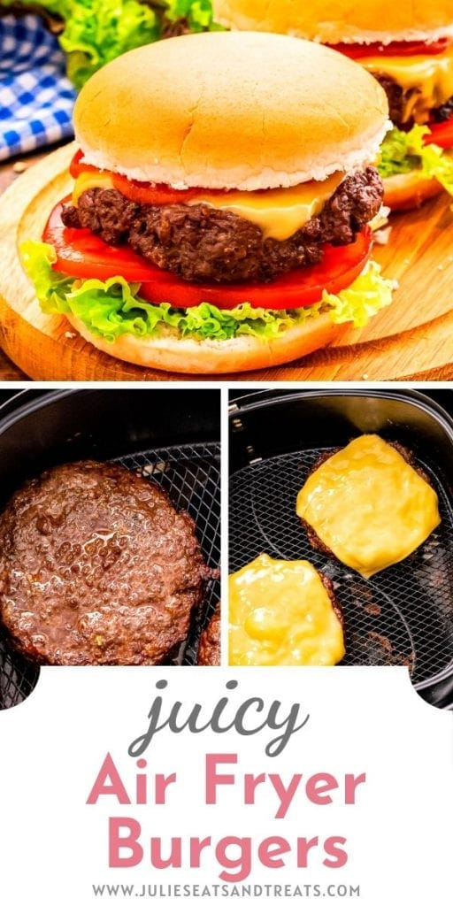 Pin Image with top photo of cheeseburger on bun then two little images below with burgers and cheeseburgers in air fryer basket. Text overlay of recipe title below that.