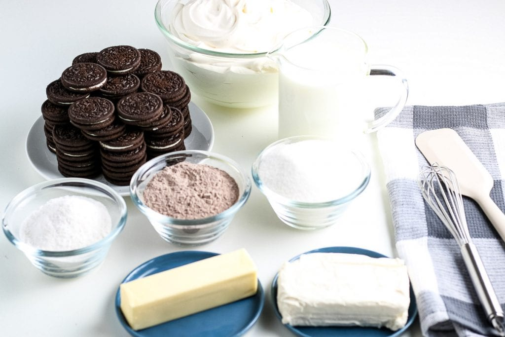 Ingredients needed to make Chocolate Lasagna on white background