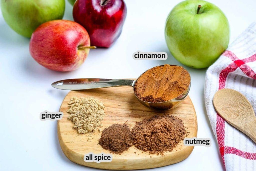 Apple Pie Spice Ingredients on a wooden board