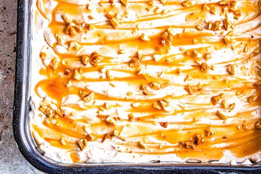 Overhead image of Dulce de Leche Apple Poke Cake In Pan