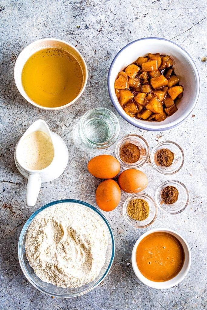 Overhead image of Dulce de Leche Apple Poke Cake Ingredients