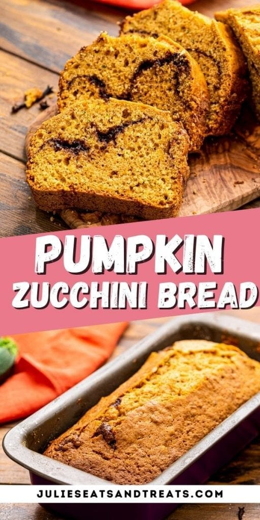 Pumpkin Zucchini Bread Pin Image with top showing sliced pieces of bread, text overlay of recipe name in middle and bottom showing a pan of pumpkin bread.