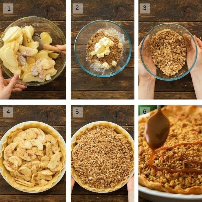 Apple Pie with Crumb Topping Collage of photos to make the pie