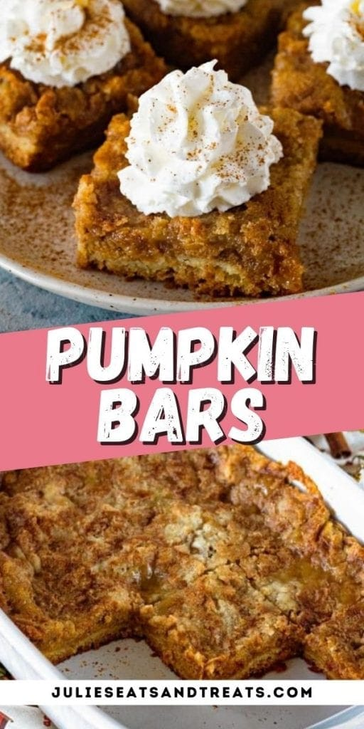 Pumpkin Dessert Bars Pin Image with top image showing a bar on plate, text overlay of recipe name and bottom showing pan of bars.