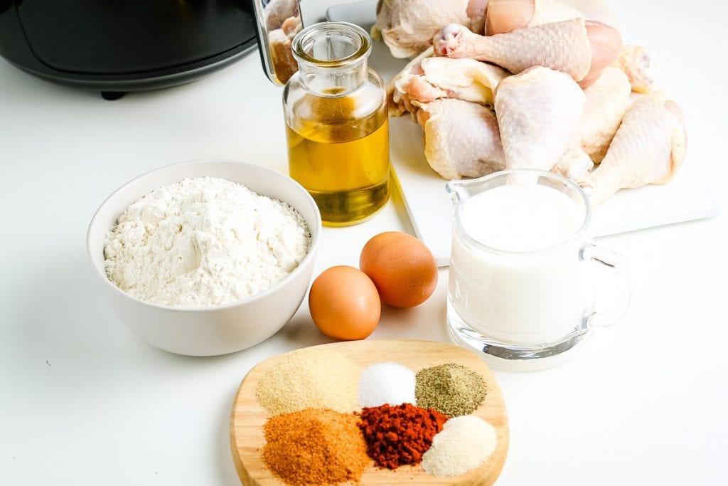 Ingredients for Air Fryer Fried Chicken