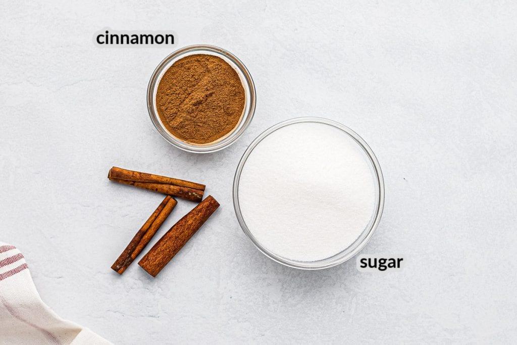 Overhead image of Cinnamon Sugar Ingredients