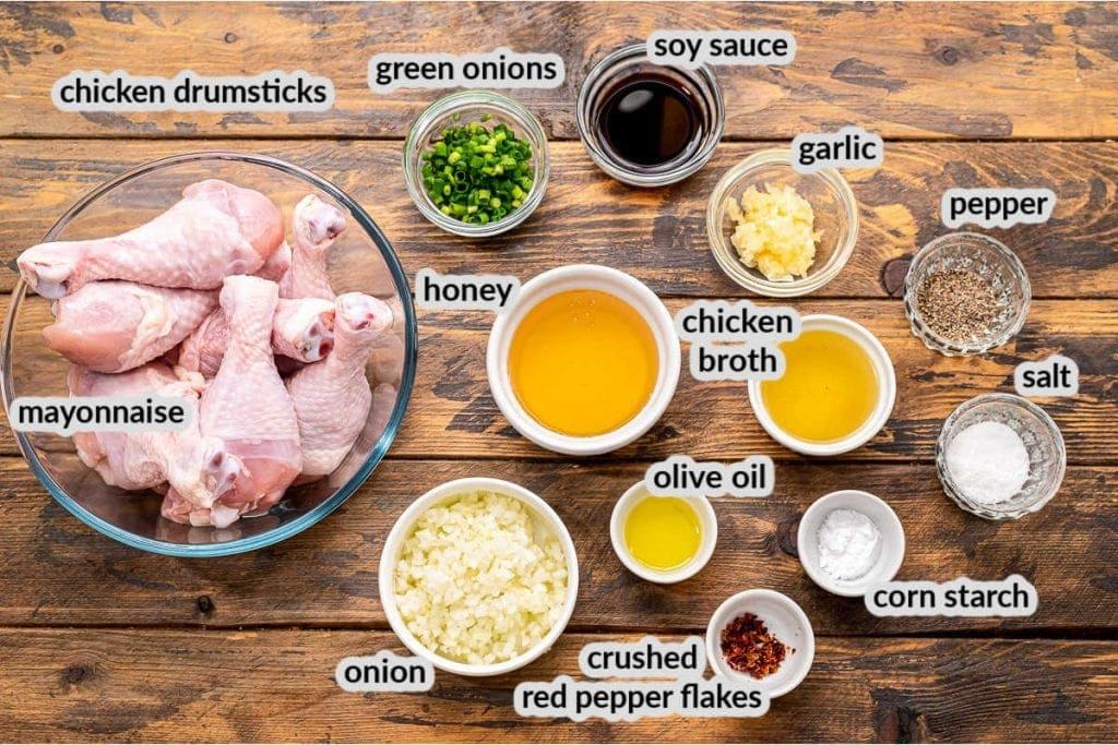 Overhead image of Honey Garlic Chicken Drumsticks Ingredients