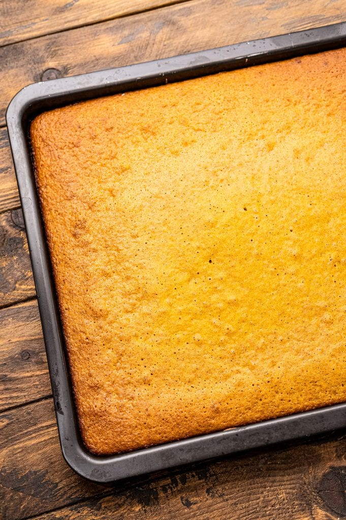 Pumpkin Bars after being baked in a pan