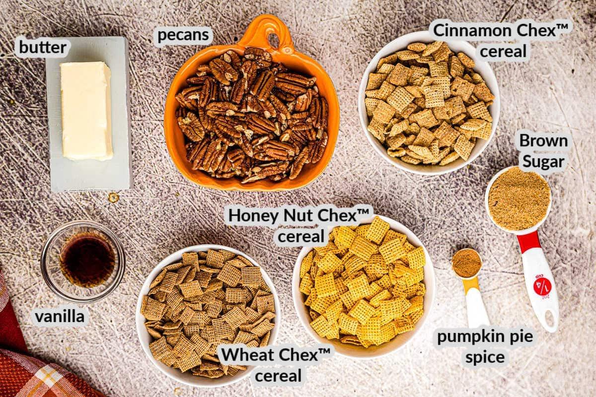 Overhead image of Pumpkin Chex Mix Ingredients