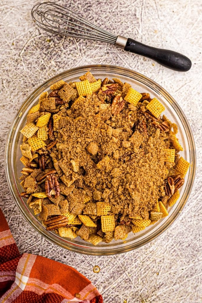 Chex Cereal with brown sugar topping on top of it.