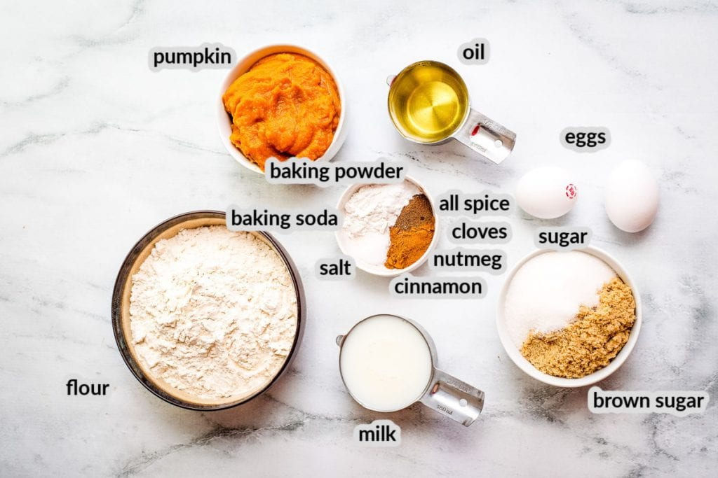 Ingredients for Frosted Pumpkin Cupcakes