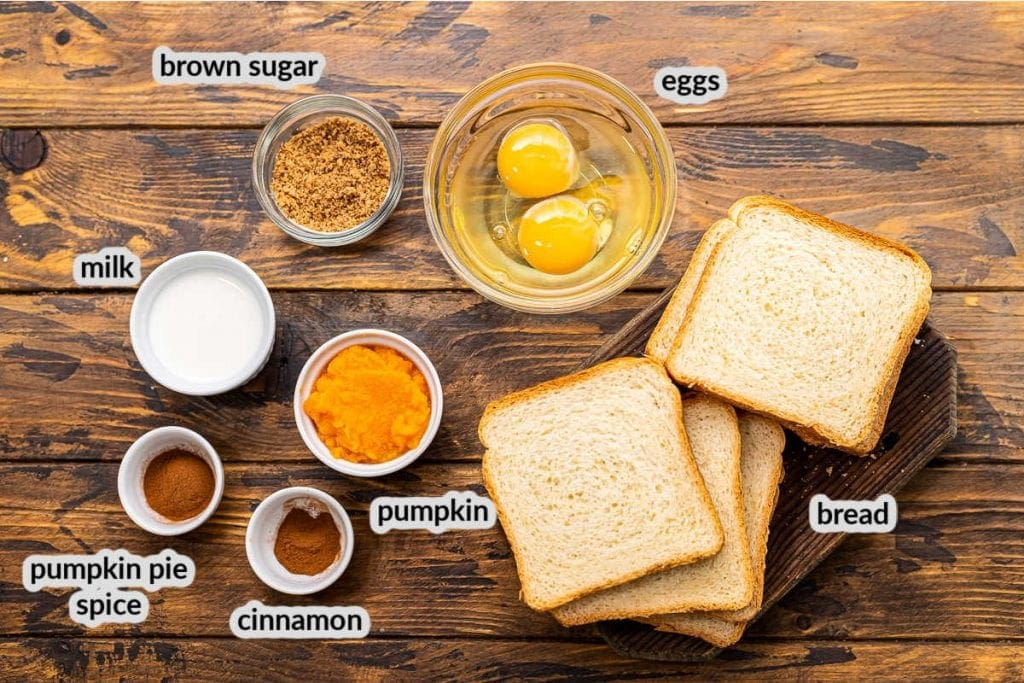 Pumpkin French Toast Ingredients on a wooden background