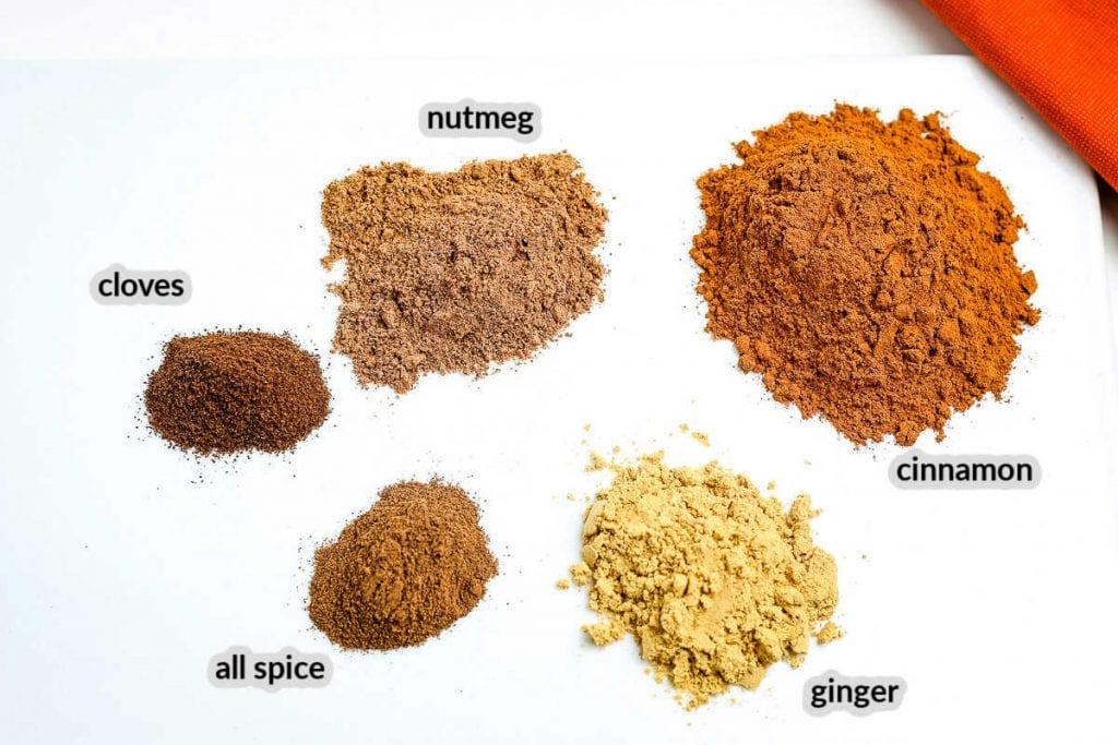 Pumpkin Pie Spice Ingredients on white background