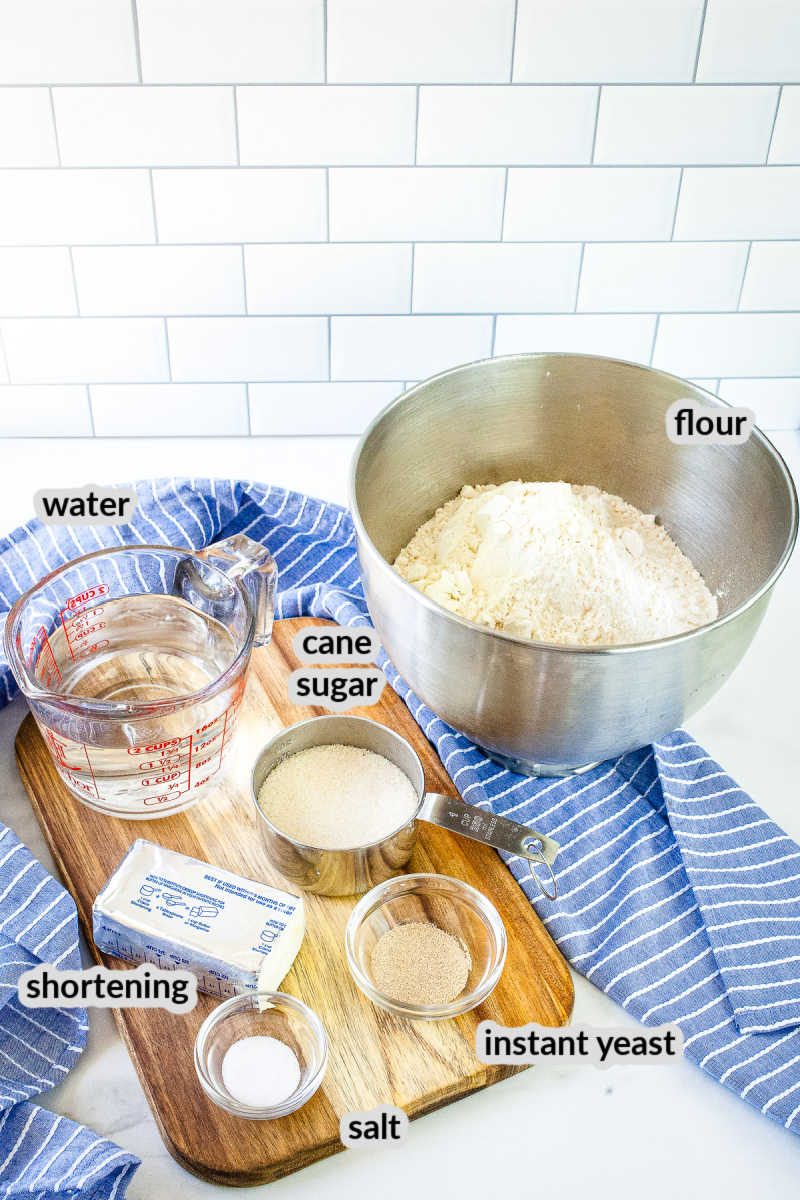 All the ingredients needed to make dinner rolls