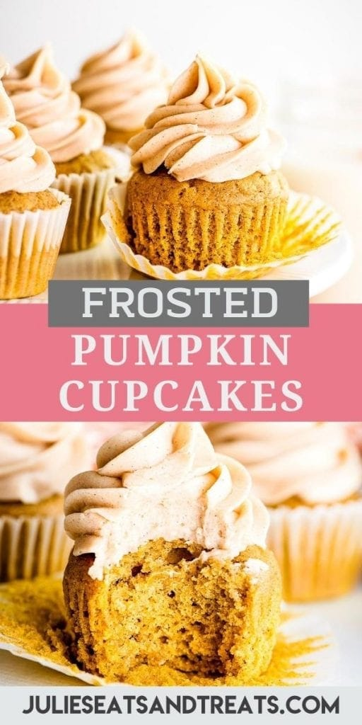 Pumpkin Cupcakes Pin Image with image of a Frosted Cupcake on top, text overlay in middle of recipe name and a bottom photo with bit taken out of cupcake.