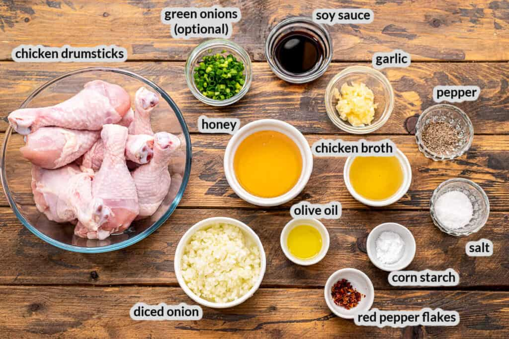 Honey Garlic Chicken Drumsticks Ingredients Overhead Image