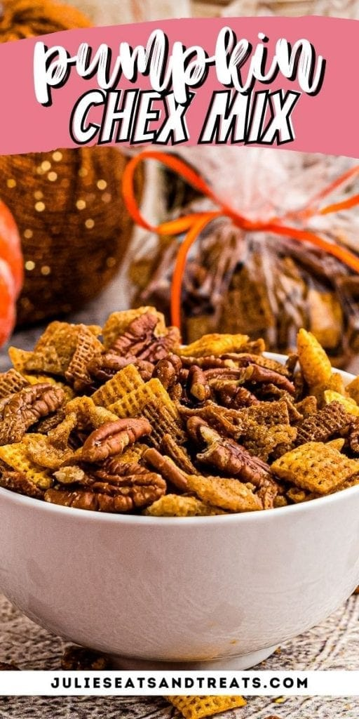 Pin Image for Pumpkin Chex Mix with text overlay of recipe name on top and a photo of it in a bowl below.