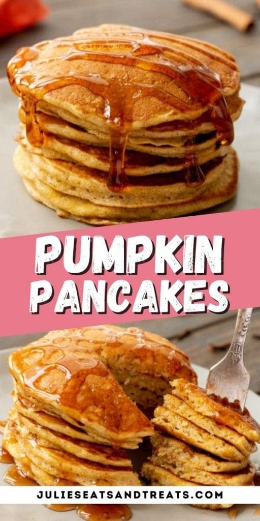 Pumpkin Pancakes Pinterest Image with a white plate of pancakes on top, text overlay of recipe name in middle and bottom photo of fork stabbing pancakes.