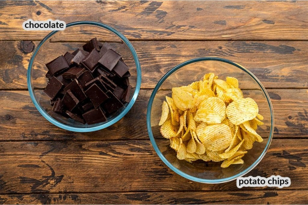 Overhead Image of Chocolate Covered Potato chips Ingredients