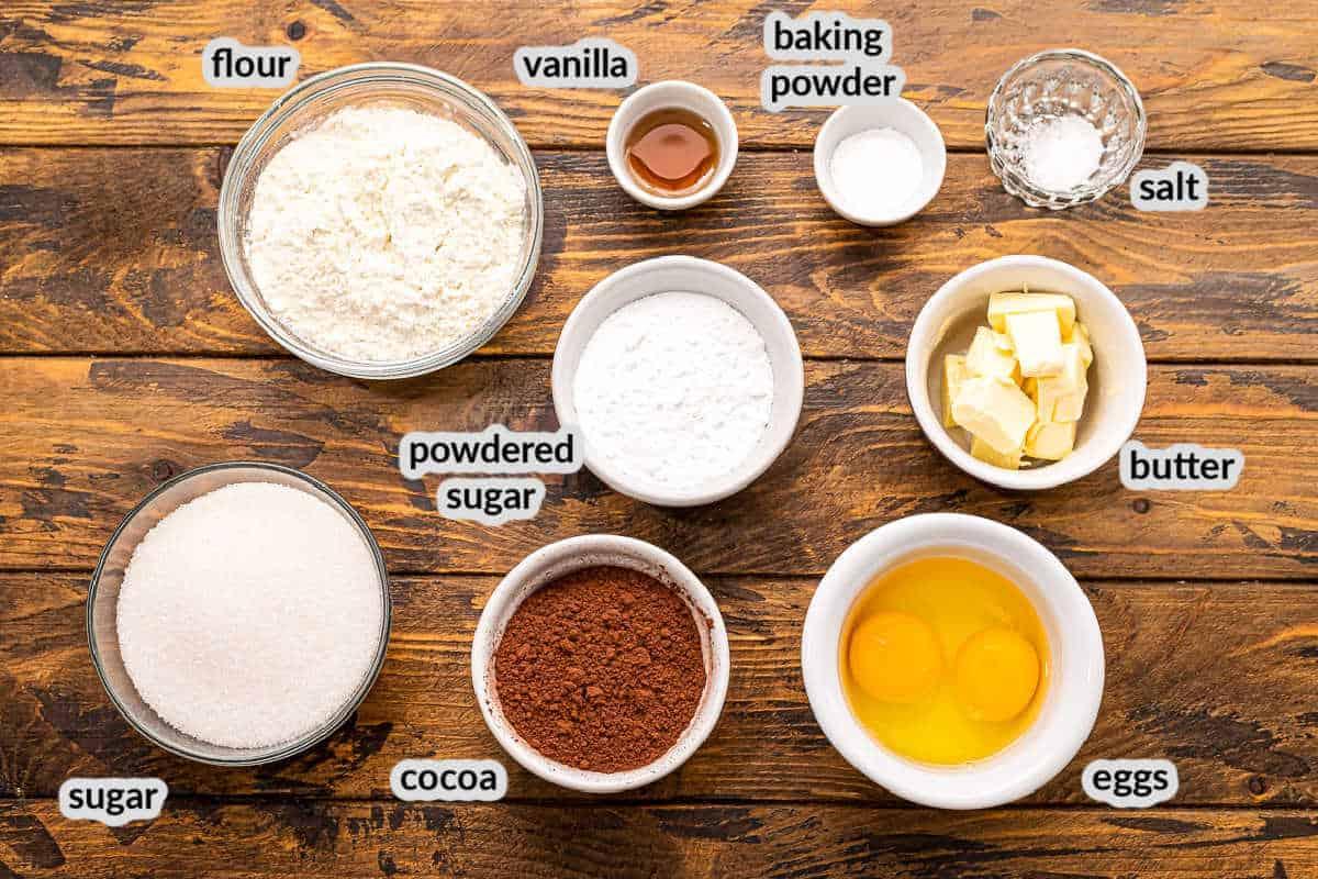 Overhead image of Chocolate Crinkle Cookies Ingredients in bowls